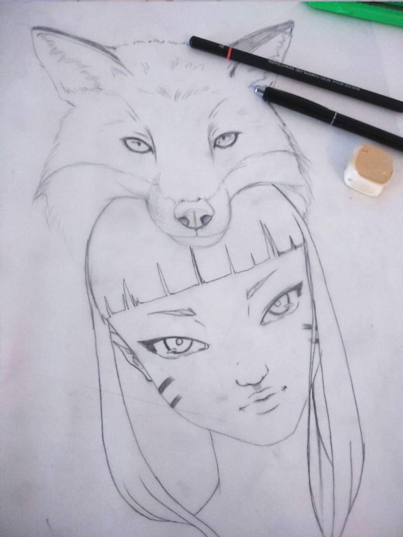 Ilustración sobre madera -1