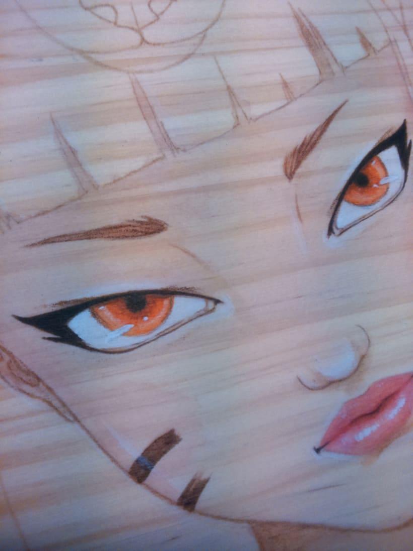 Ilustración sobre madera 0