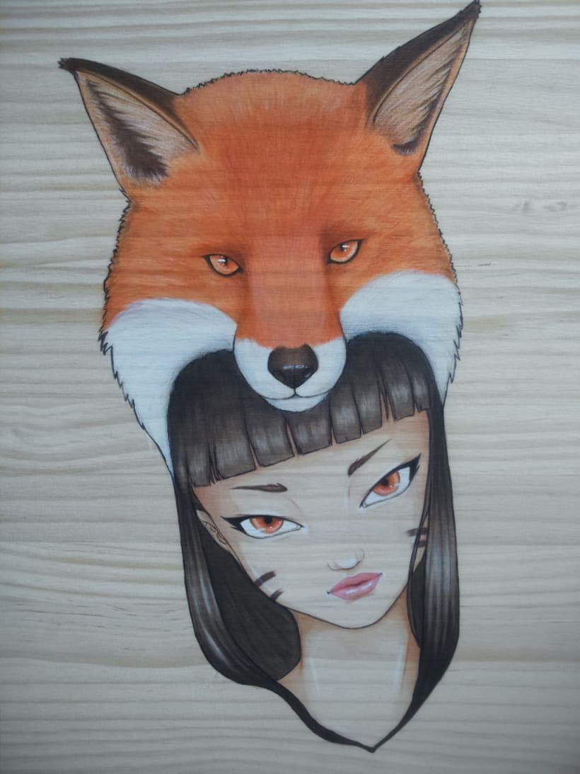 Ilustración sobre madera 1
