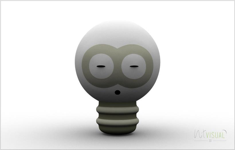 personaje Bombilla 3D 3