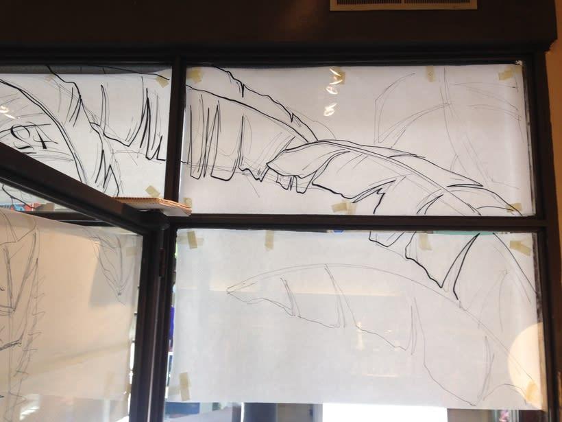 Dibujo sobre vidrios - escaparates. -1