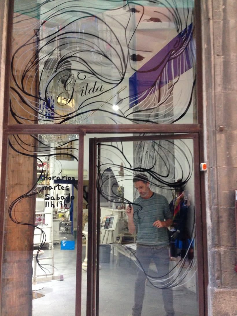 Dibujo sobre vidrios - escaparates. 3