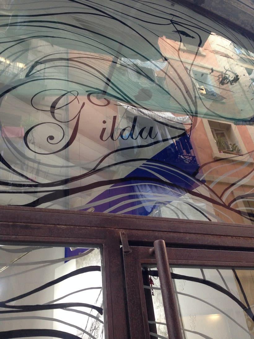 Dibujo sobre vidrios - escaparates. 4