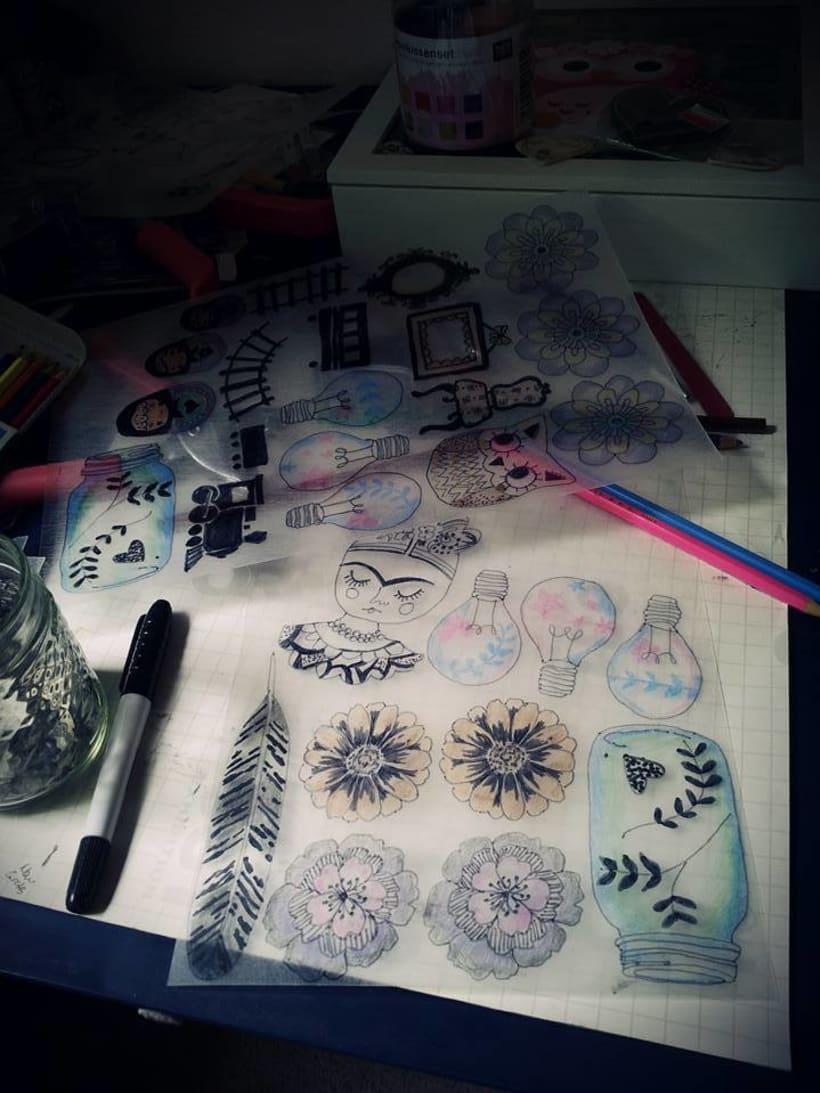 Joyeria Artesanal en plastico hecha a partir de mis Ilustraciones Originales.  3