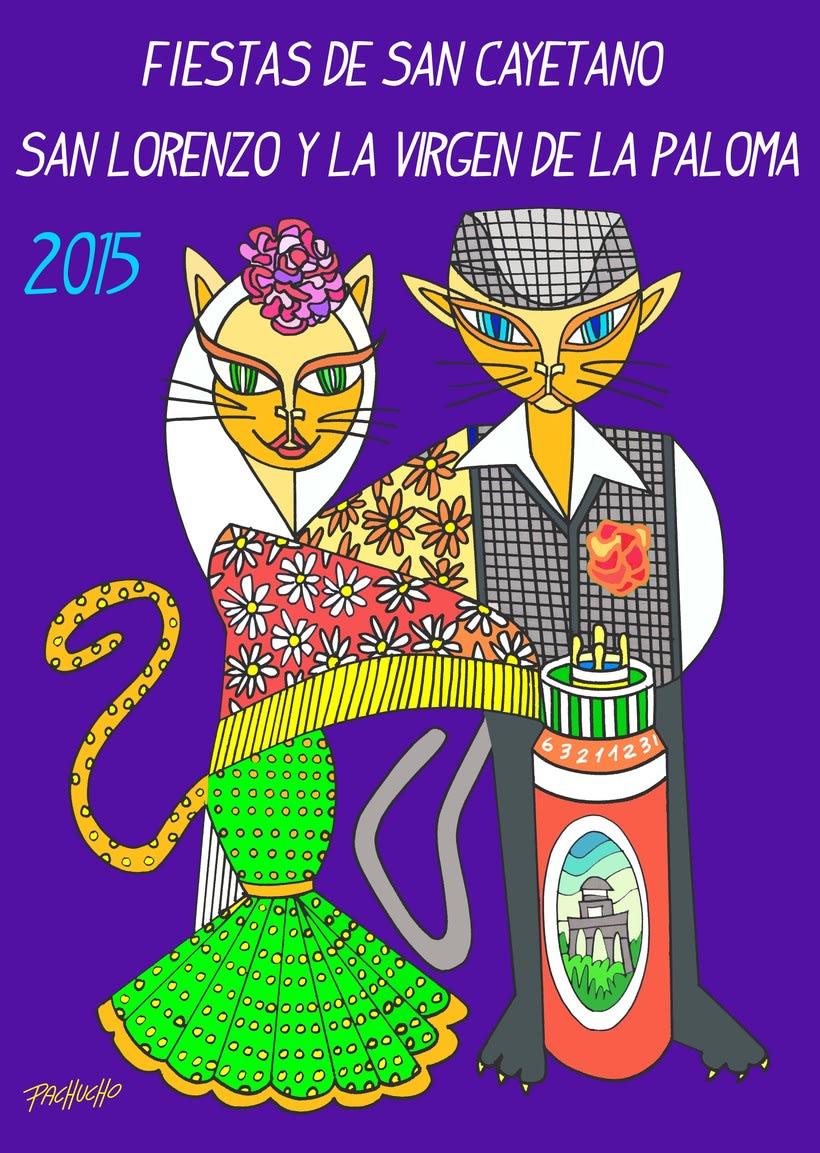 CARTEL FIESTAS DE SAN CAYETANO SAN LORENZO Y LA VIRGEN DE LA PALOMA 2015 -1