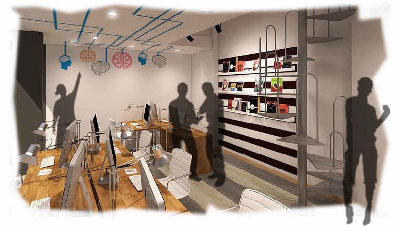 Diseño de oficina y aula de clases en espacio de coworking -1