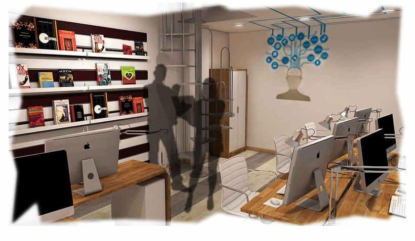 Diseño de oficina y aula de clases en espacio de coworking 0
