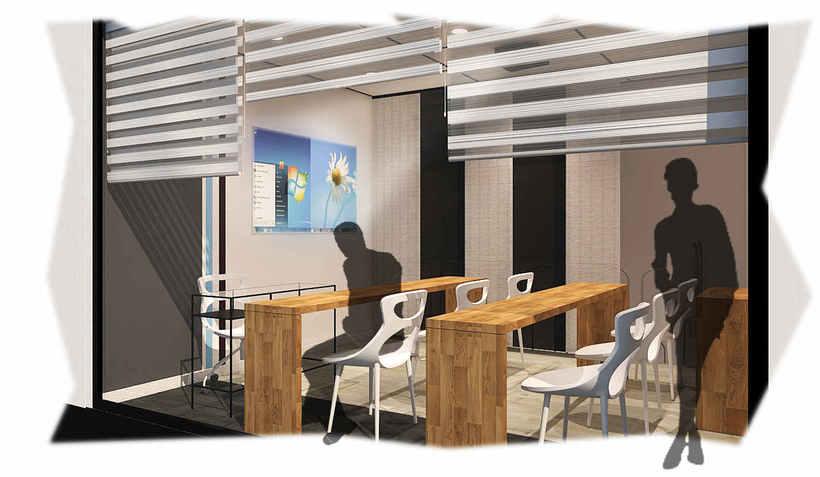 Diseño de oficina y aula de clases en espacio de coworking 2