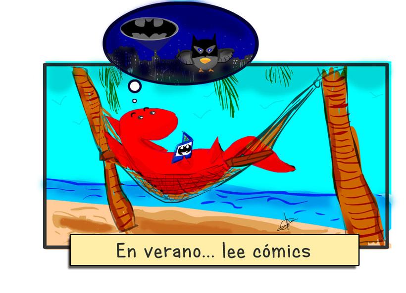 Cartel de vacaciones de tienda de cómics 2