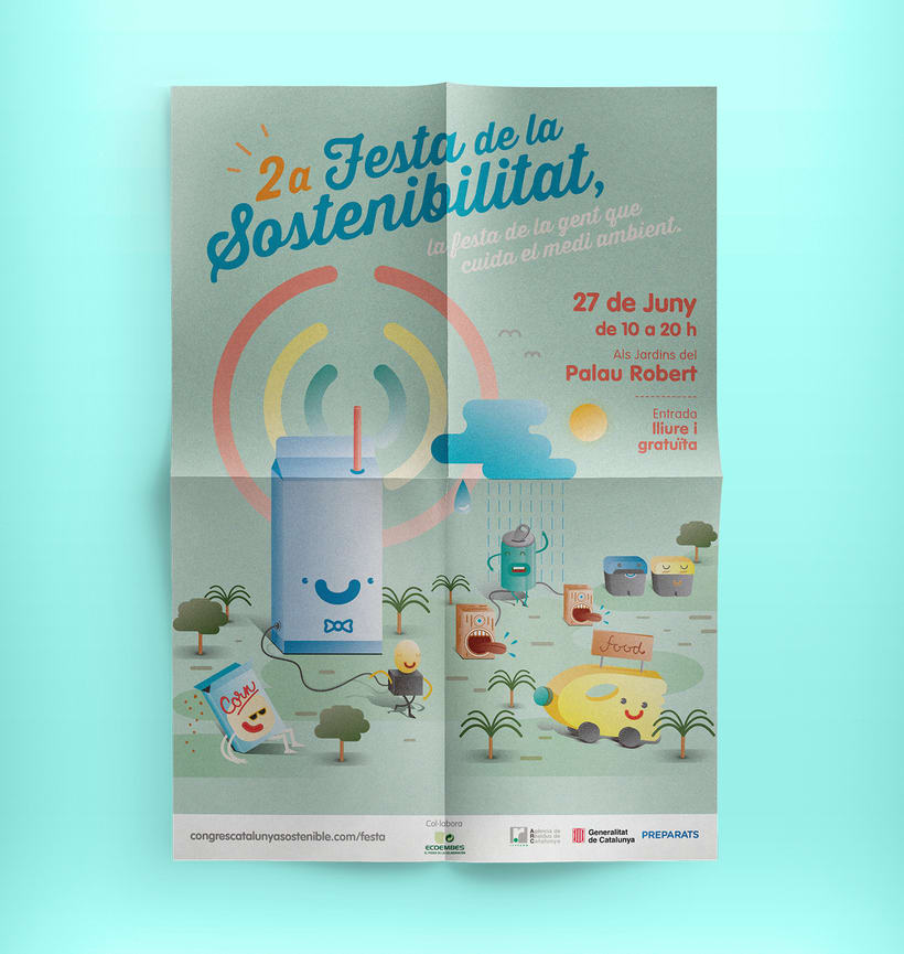 Festa de la sostenibilitat. Keyvisual, poster, site web y mobile. 0