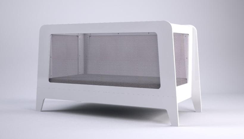 JUVI, cuna multifuncional con laterales de malla -1