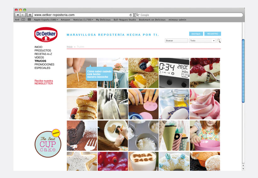 Repostería Dr. Oetker: Dirección de arte para el layout de la web y para las sesiones de fotos de recetas 7
