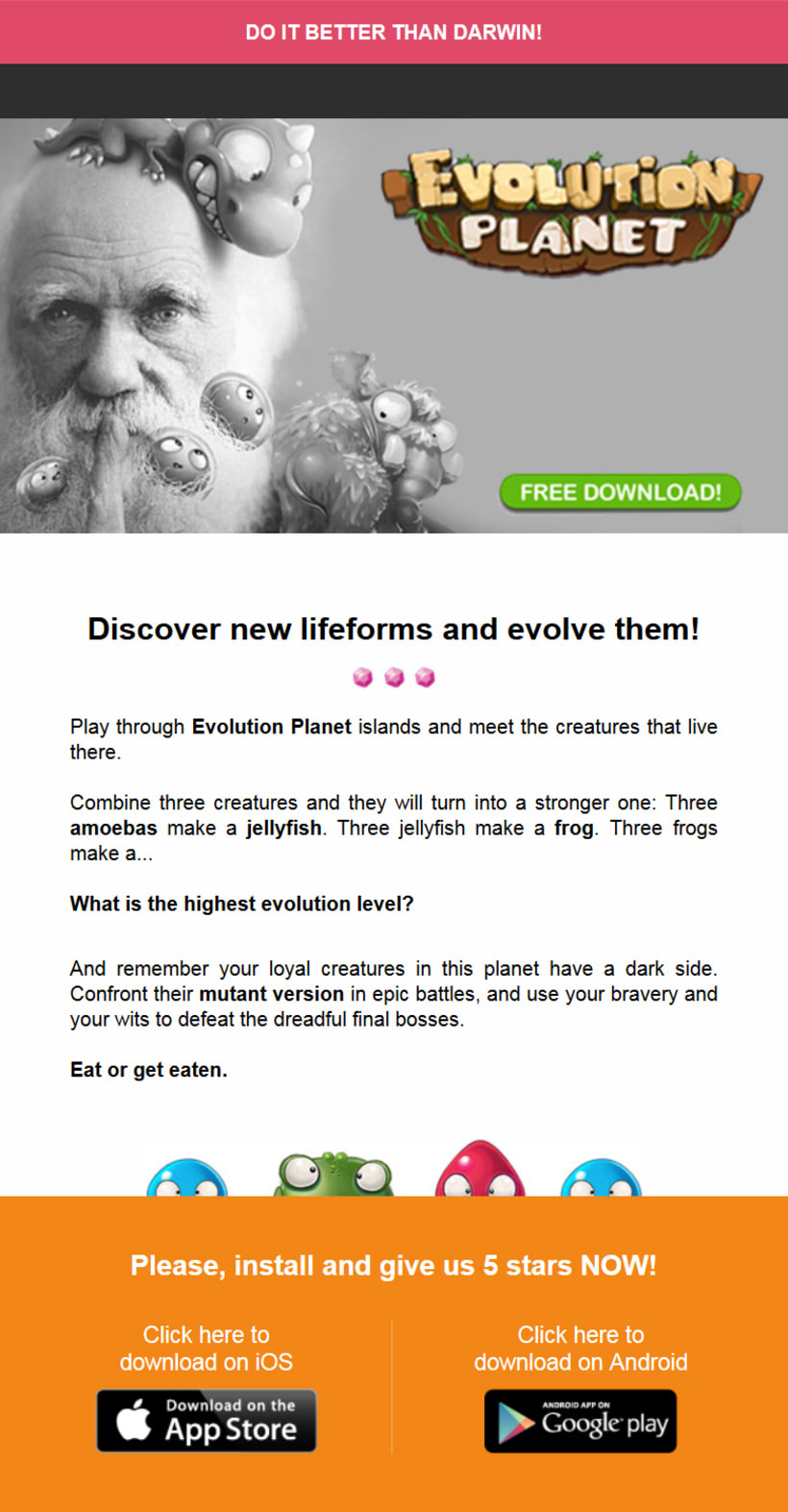 Newsletter Juego Evolution Planet de Play Wireless - Do it better than Darwin!  0