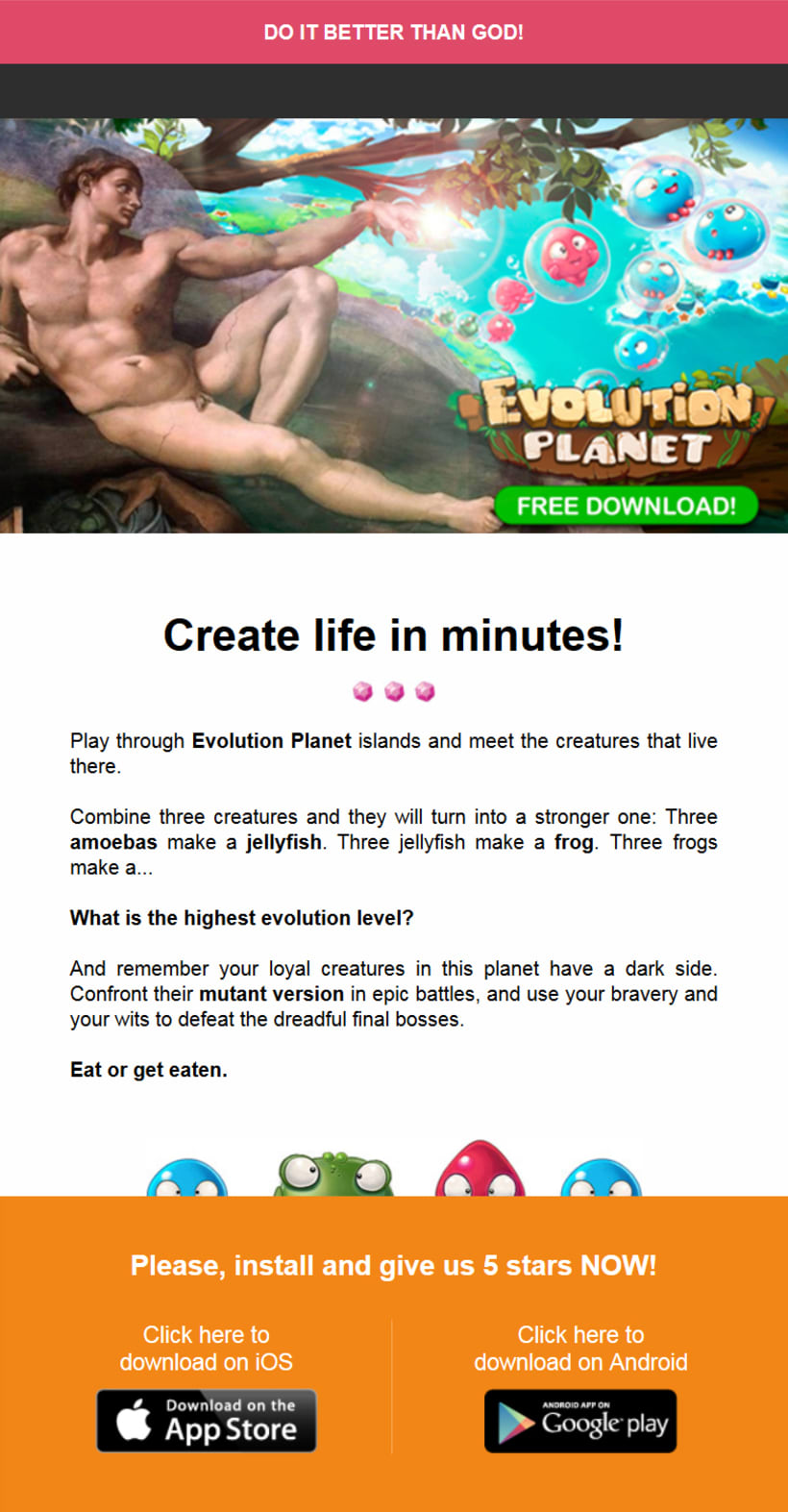 Newsletter Juego Evolution Planet de Play Wireless - Do it better than God! 0