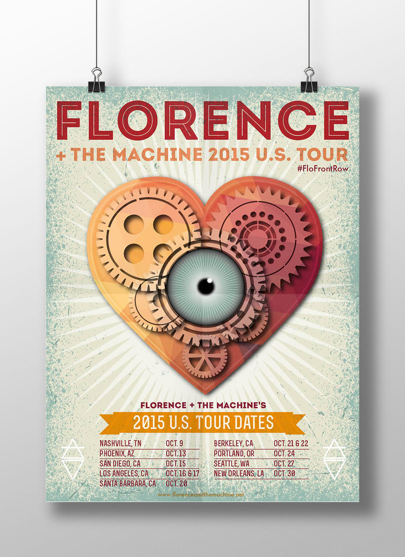 Cartel presentado en Talenthouse para concursoFlorence+the machine 2015 U.S.  Tour  -1