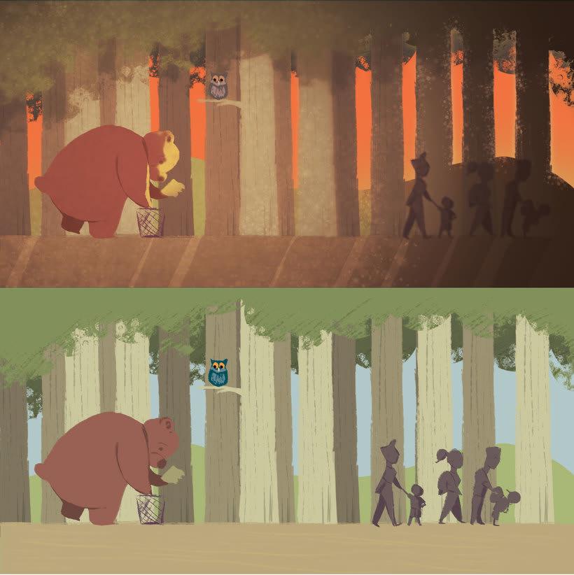 Ilustración pagina de cuento y amigos del bosque 10