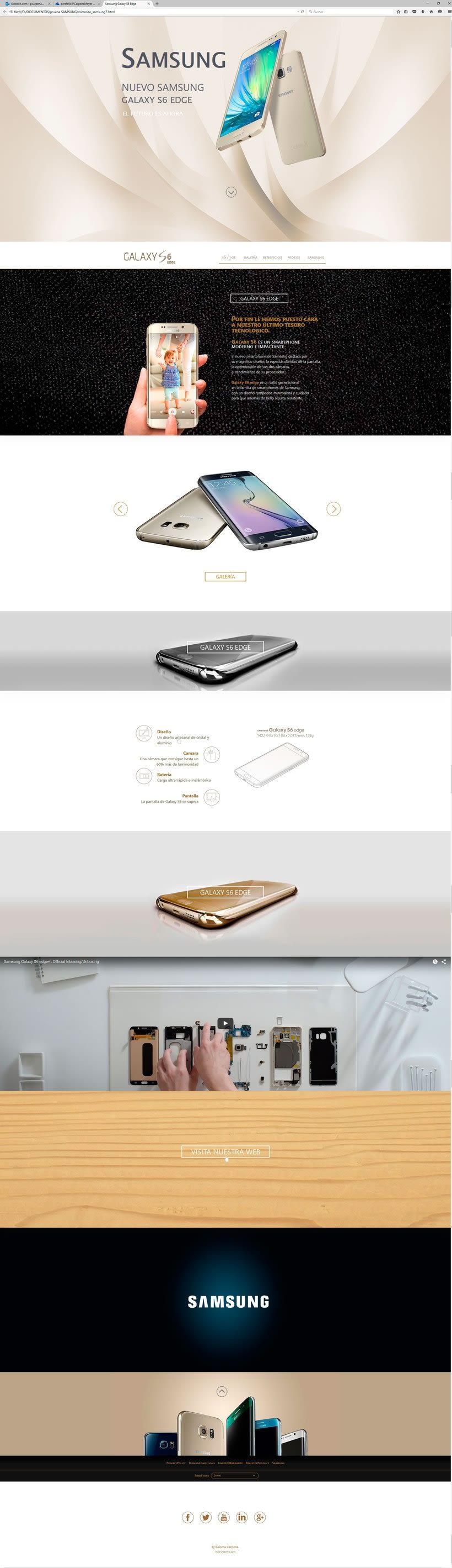 Microsite Samsung GalaxyS6 Edge, realizado en Aula Creactiva durante el Master de diseño web. 1