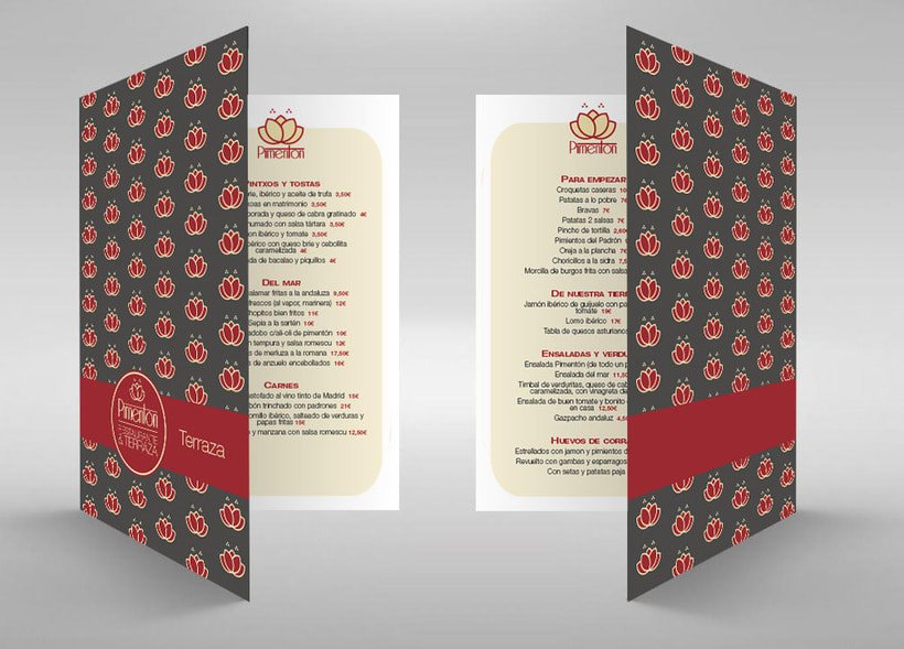 Identidad corporativa Restaurante Pimentón. Cartas 2