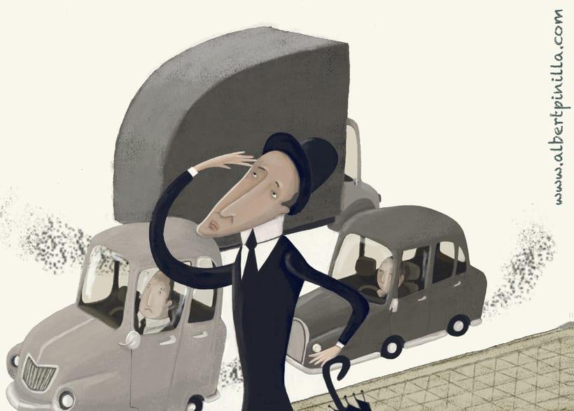 Ilustración hombre en la ciudad Albert Pinilla -1