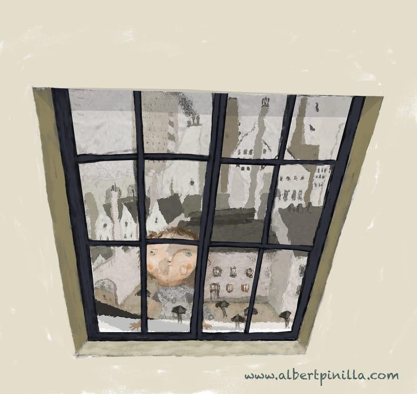 Ilustración niña ventana Albert Pinilla -1