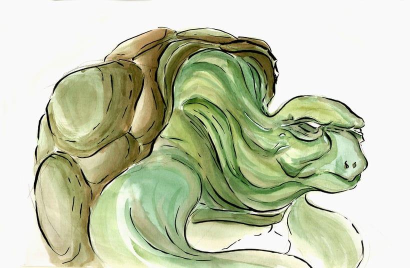 Fun with Watercolor - Green Guys. 1