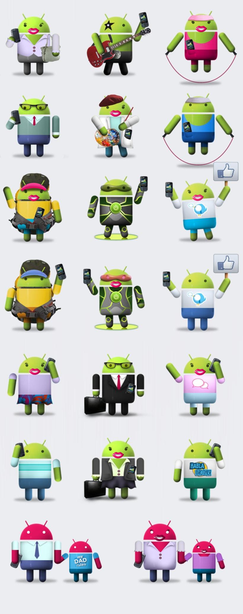 Diseño y animación de personajes / app Facebook LG 1