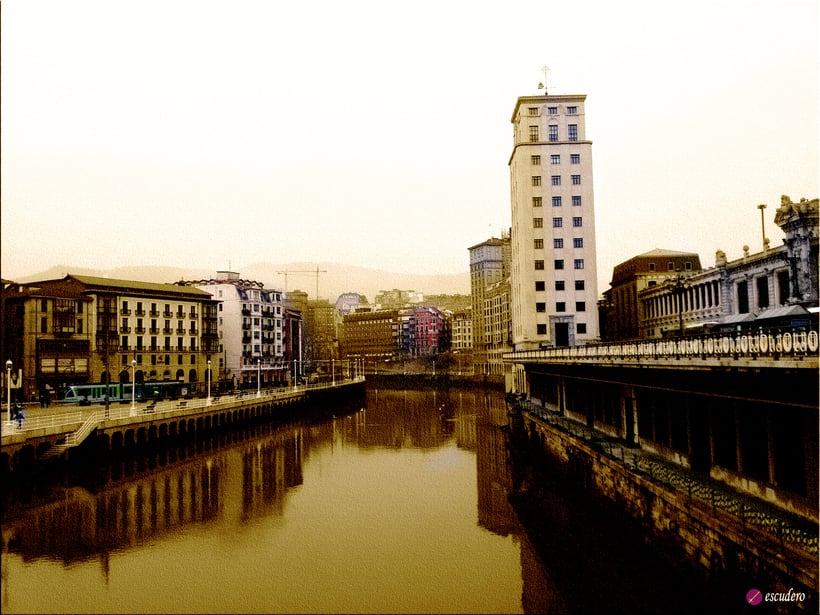 Bilbao desde el puente del Arenal nuevo retocado como antiguo  0