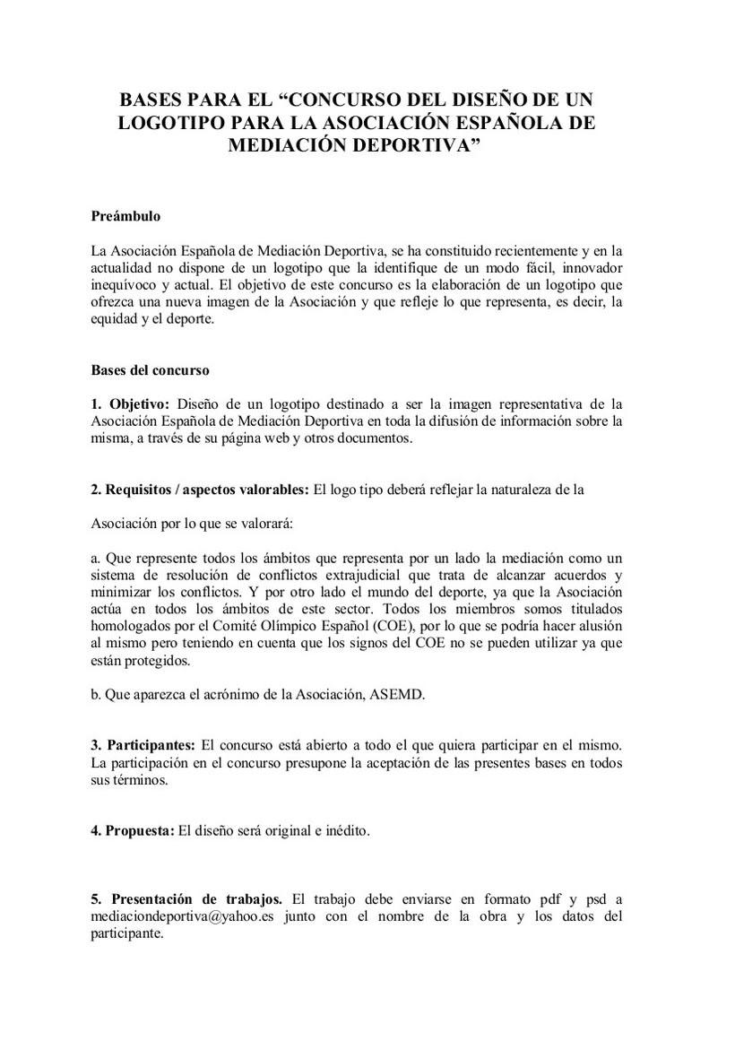 CONCURSO DE LOGO DE LA ASOCIACIÓN ESPAÑOLA DE MEDIACIÓN DEPORTIVA  0