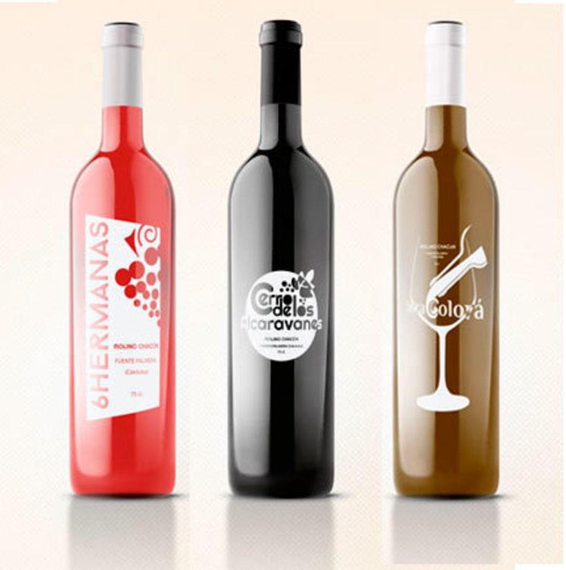 Diseño etiquetas tres vinos, Molino Chacón, Córdoba. 1