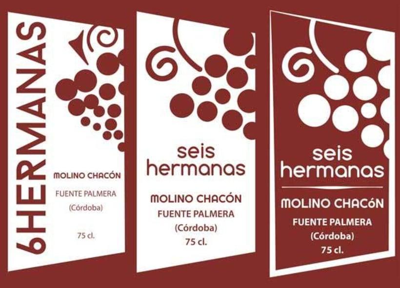 Diseño etiquetas tres vinos, Molino Chacón, Córdoba. 2
