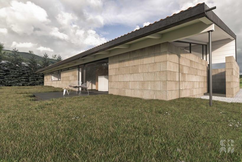 Render arquitectura 3d dise o casa patio domestika - Diseno casa 3d ...