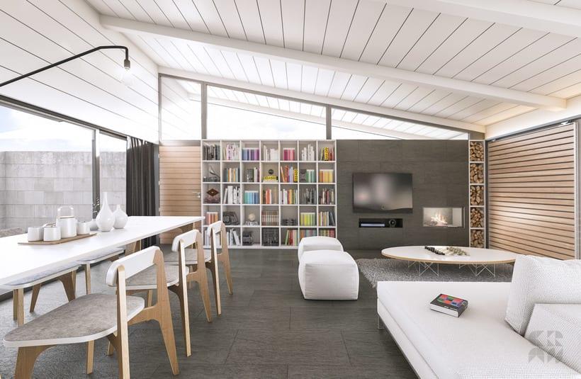 Render - Arquitectura 3D - Diseño - Casa Patio 2