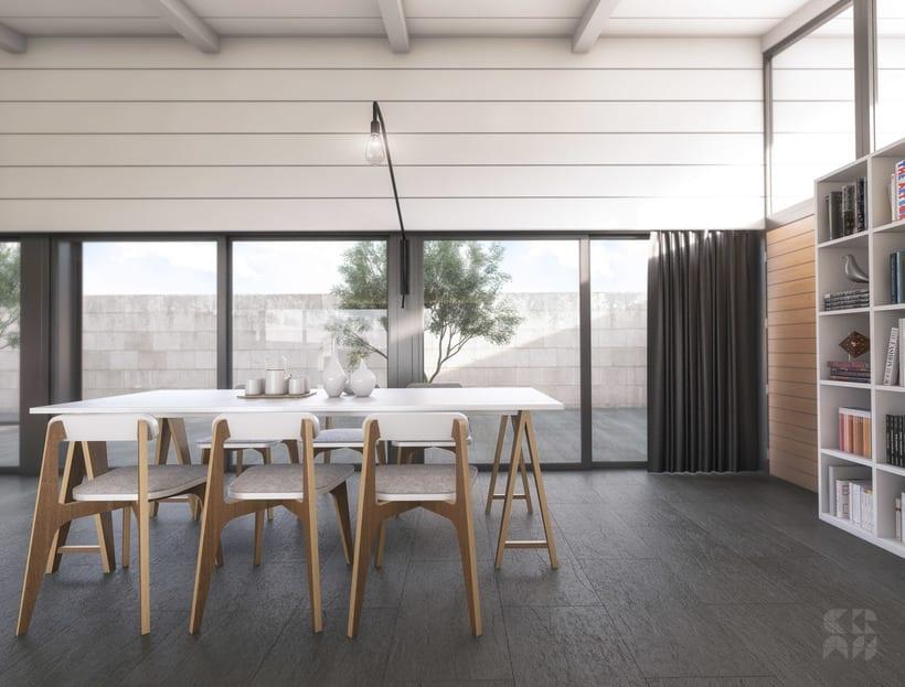 Render arquitectura 3d dise o casa patio domestika - Diseno de casa en 3d ...