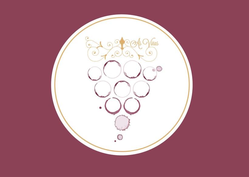 "Logotipo/ tarjeta visita  ""As Viñas"" . Enología Familiar. Alojamiento entorno rural. 2"