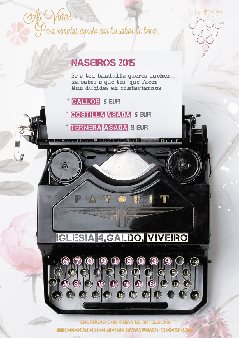 "Logotipo/ tarjeta visita  ""As Viñas"" . Enología Familiar. Alojamiento entorno rural. 13"