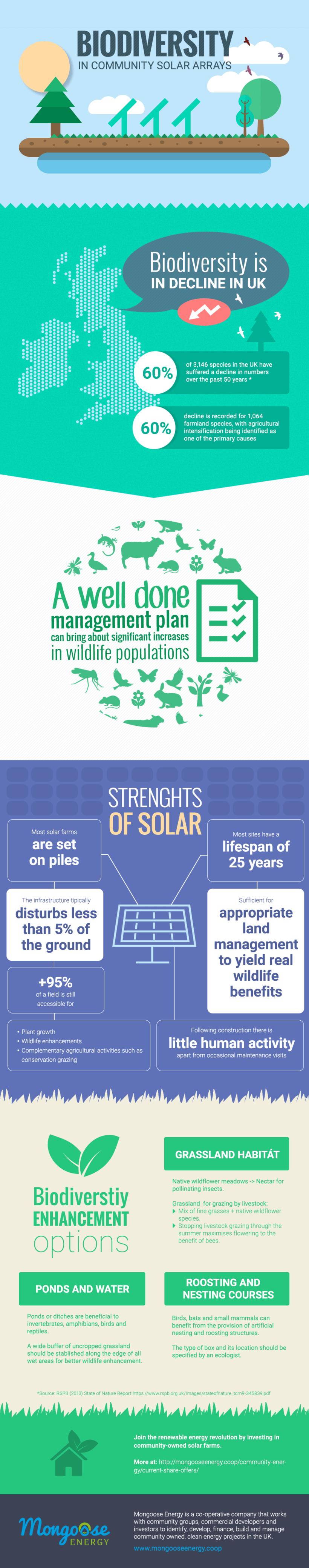 """Diseño de infografía: """"Biodiversity in community solar arrays"""" 0"""