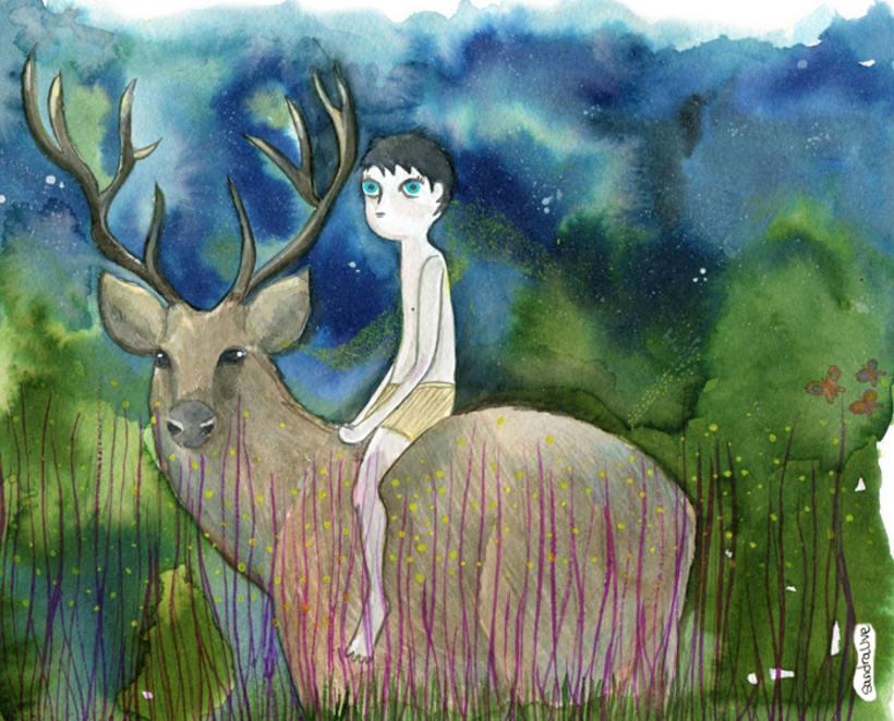 """Ilustración """"Niño salvaje con ciervo"""" 0"""