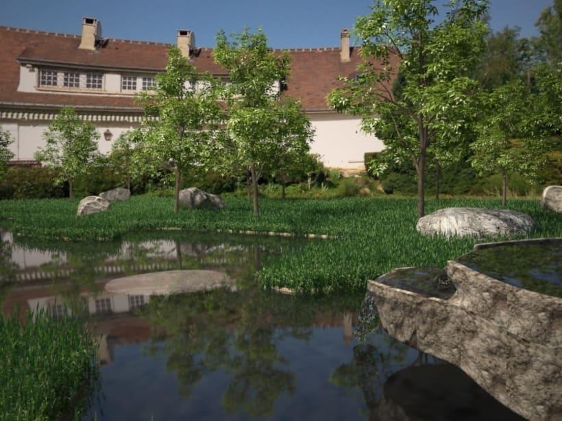 estanque artificial implantado en foto de una casa real Domestika