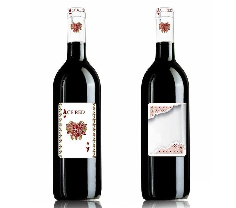 Diseño e ilustración etiqueta vino Ace red -1