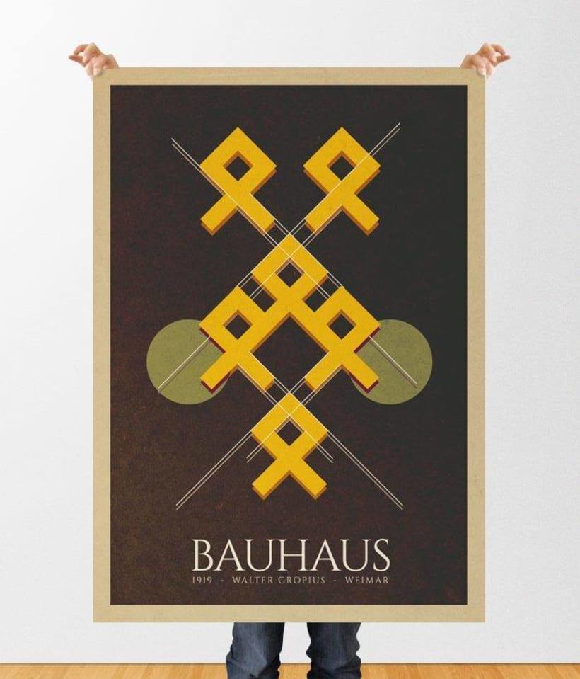 Cartel tipo Bauhaus. Proyecto deconstrucción de un cartel animado. De más a menos. -1