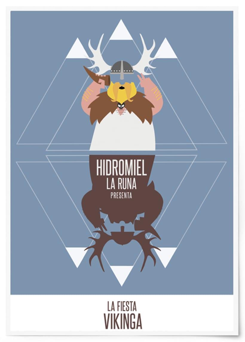 Cartel fiesta vikinga, La Runa Hidromiel. -1