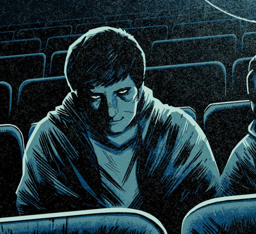 """Wake Up"" Póster homenaje a Donnie Darko para Bottleneck Gallery NY 1"