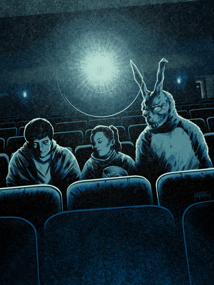 """Wake Up"" Póster homenaje a Donnie Darko para Bottleneck Gallery NY 0"