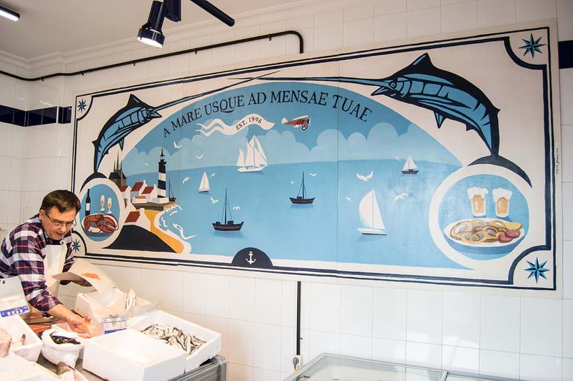 Mural para decorar una pescadería. Acrílico sobre tabla 370 x 150 cm. -1