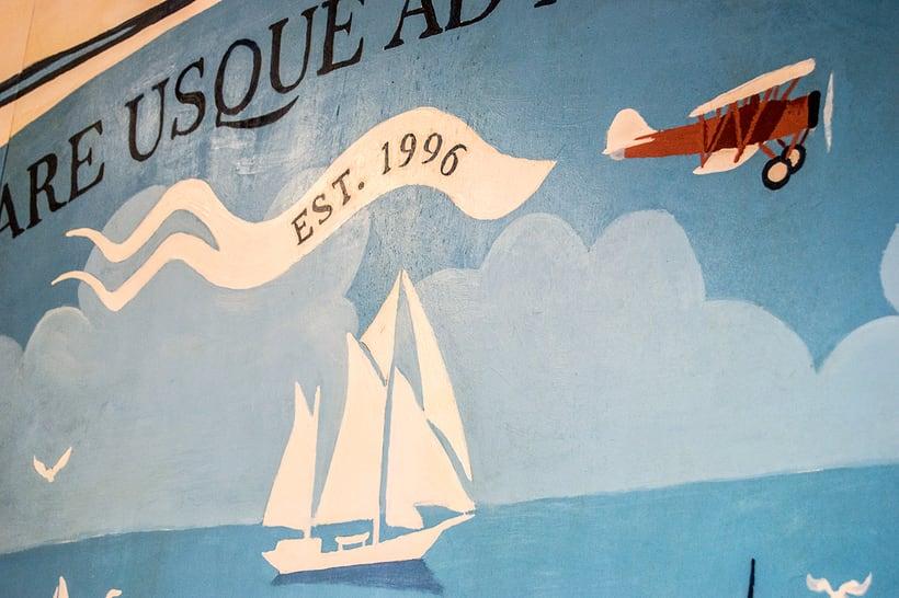 Mural para decorar una pescadería. Acrílico sobre tabla 370 x 150 cm. 0