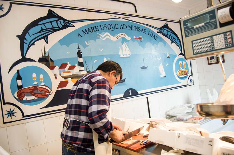 Mural para decorar una pescadería. Acrílico sobre tabla 370 x 150 cm. 1
