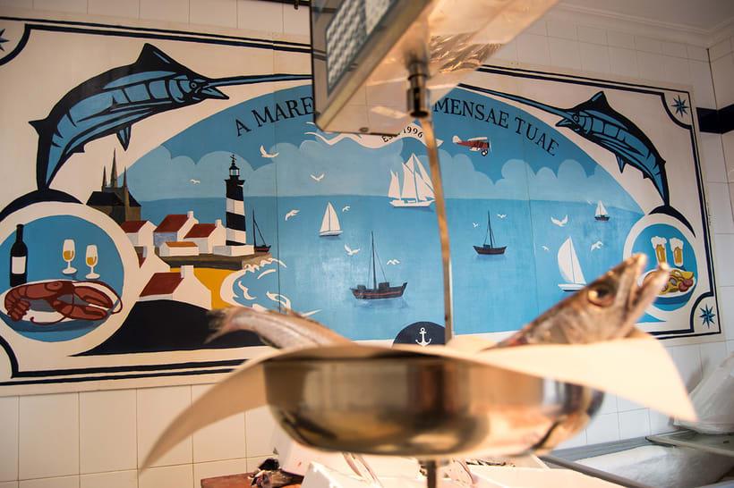 Mural para decorar una pescadería. Acrílico sobre tabla 370 x 150 cm. 2