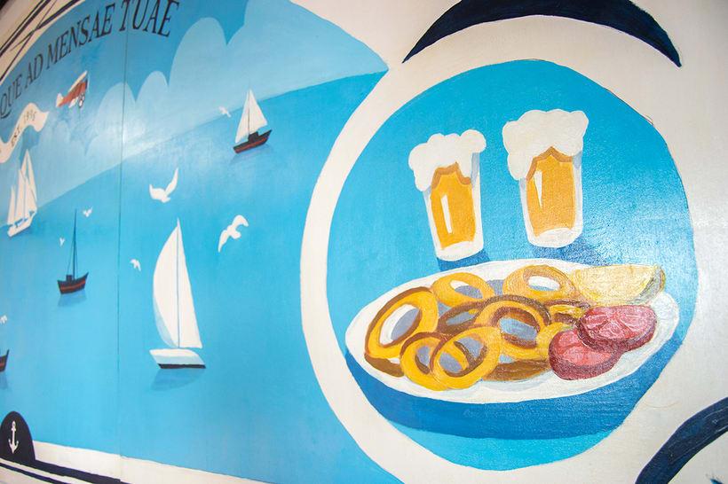 Mural para decorar una pescadería. Acrílico sobre tabla 370 x 150 cm. 3