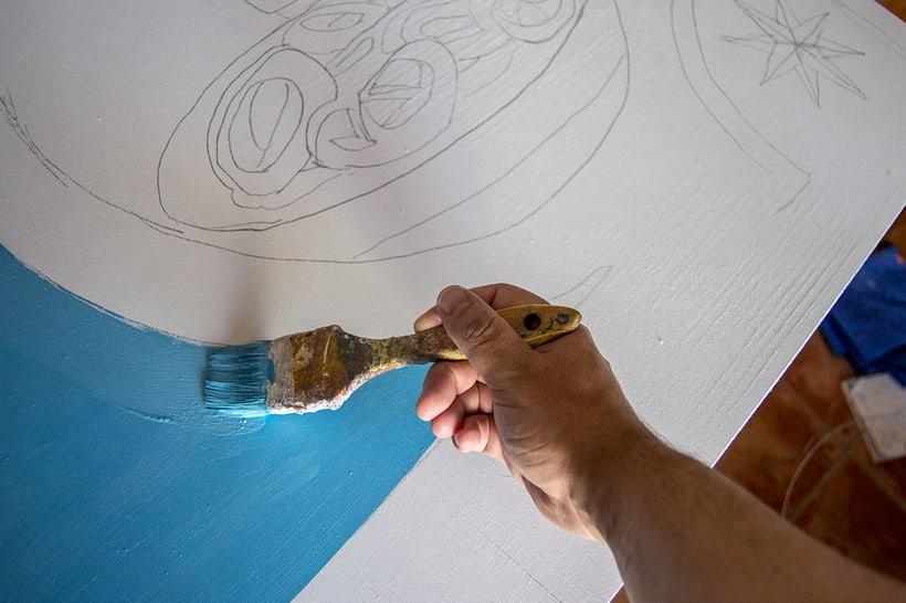 Mural para decorar una pescadería. Acrílico sobre tabla 370 x 150 cm. 4
