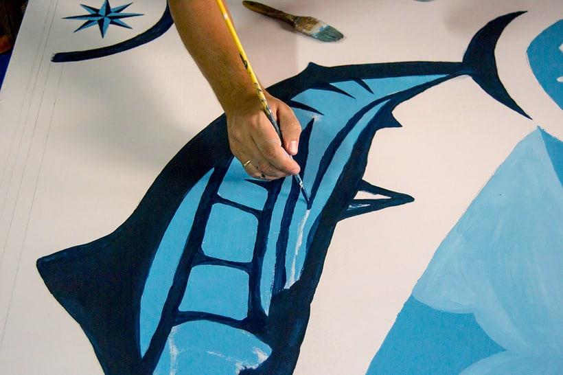 Mural para decorar una pescadería. Acrílico sobre tabla 370 x 150 cm. 5